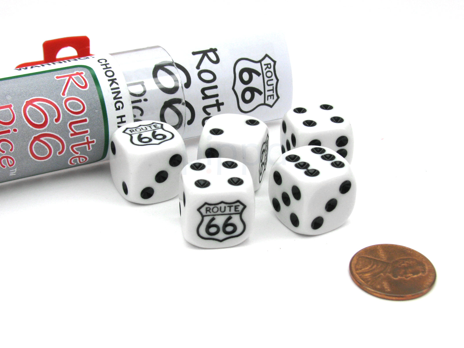 Route 66 Dice Game with 5 Dice Travel Tube and Gaming Instructions
