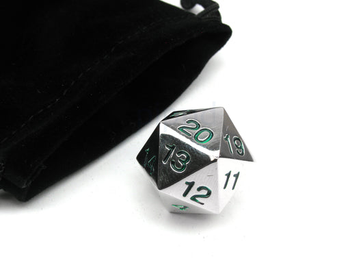 Large 22mm Zinc Metal Alloy Countdown D20 Dice w Black Bag, 1 Pc - Green Numbers