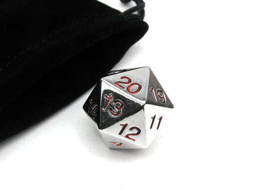 Large 22mm Zinc Metal Alloy Countdown D20 Dice w Black Bag, 1 Pc - Red Numbers