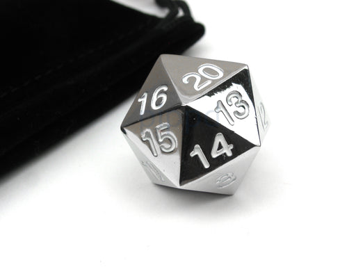 Large 22mm Zinc Metal Alloy Countdown D20 Dice w Black Bag, 1 Pc - White Numbers