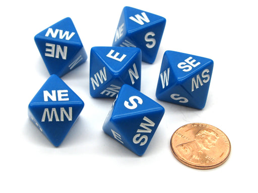 Set of 6 Compass Cardinal Direction 8 Sided Dice - Blue with White Letters