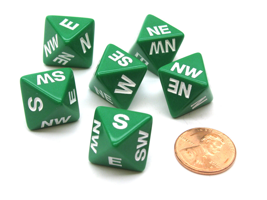 Set of 6 Compass Cardinal Direction 8 Sided Dice - Green with White Letters