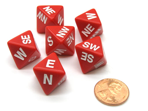 Set of 6 Compass Cardinal Direction 8 Sided Dice - Red with White Letters