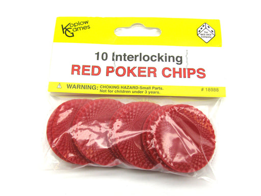 "Pack of 10 1.5"" Small Interlocking Poker Chips - Red"