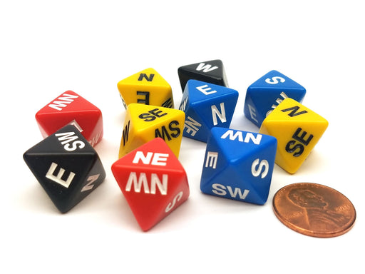 Set of 10 Compass Cardinal Direction D8 Dice - Assortment of Colors