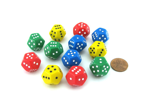 Pack of 12 D12 Spotted 1 to 6 Twice Dice - 3 Each of Green Red Yellow Blue