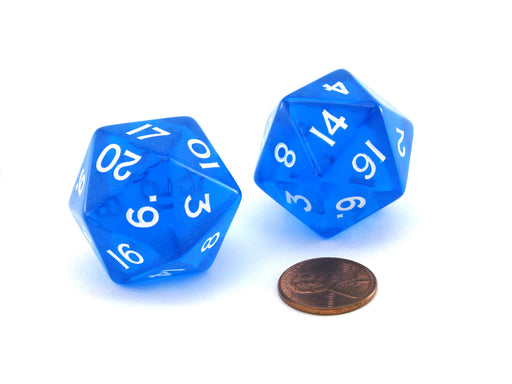 Pack of 2 Jumbo 29mm D20 Transparent Dice - Blue with White Numbers