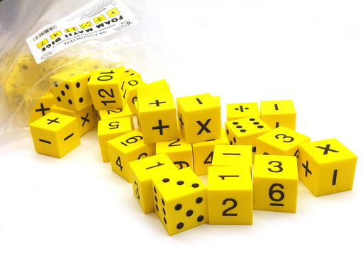 "Pack of 50 Yellow 1"" 25mm Foam Math Dice - Assorted Function, Spots, and Numbers"