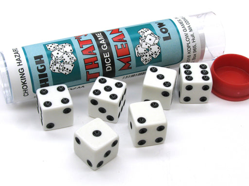 That's Mean Dice Game Set with 5 White Dice Travel Tube and Gaming Instructions