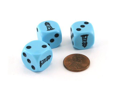 Lighthouse On The Rocks Dice Game Set with 3 Blue Dice