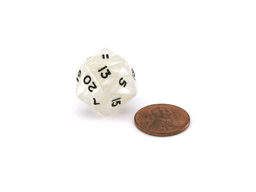 2020 Dice High Roller Twenty Sided D20 with Two 20s, 1 Piece - White with Black