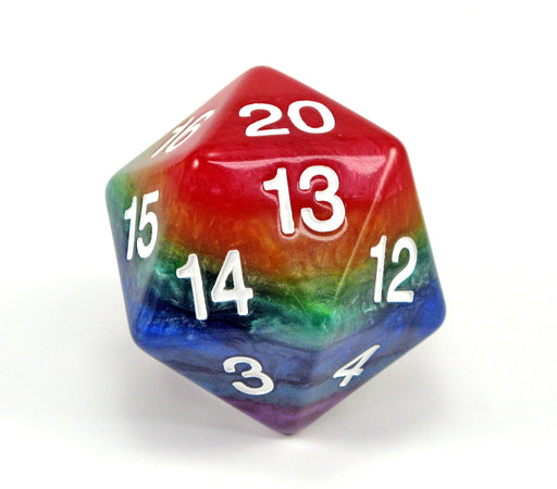 Limited Edition 55mm Countdown D20 Rainbow Dice with White Numbers