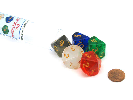 Pack of D10 Countdown 20mm Transparent Dice (1 to 10) - Choose Your Color