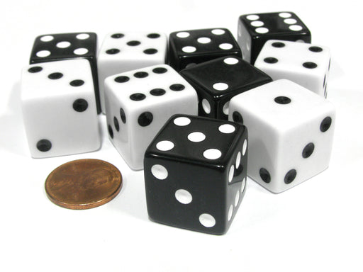 Set of 10 Large Six Sided Square Opaque 19mm D6 Dice - 5 Black and 5 White Die