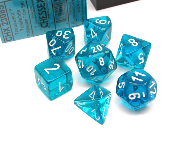 Polyhedral 7-Die Translucent Chessex Dice Set - Teal with White Numbers