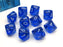 Pack of 10 Translucent Chessex 10-Sided D10 Dice - Blue with White Numbers