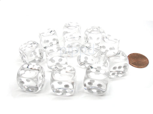 Translucent 16mm D6 Chessex Dice Block (12 Die) - Clear with White Pips