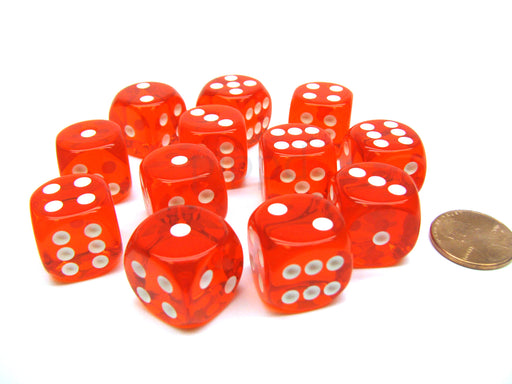 Translucent 16mm D6 Chessex Dice Block (12 Die) - Orange with White Pips