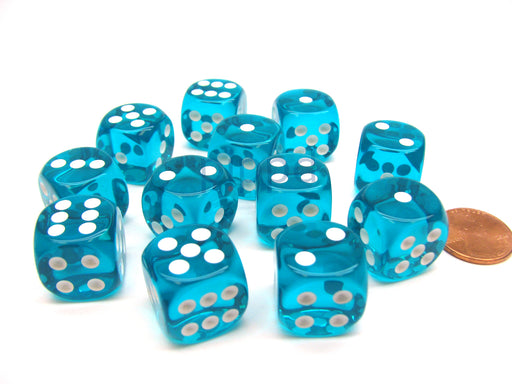 Translucent 16mm D6 Chessex Dice Block (12 Die) - Teal with White Pips
