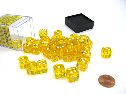 Translucent 12mm D6 Chessex Dice Block (36 Die) - Yellow with White Pips