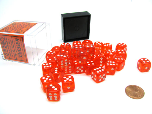 Translucent 12mm D6 Chessex Dice Block (36 Die) - Orange with White Pips