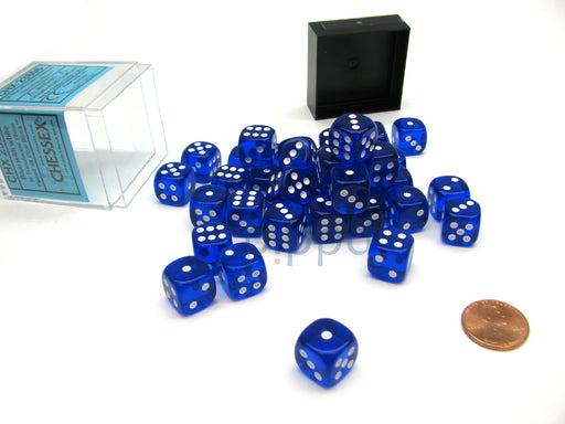 Translucent 12mm D6 Chessex Dice Block (36 Die) - Blue with White Pips