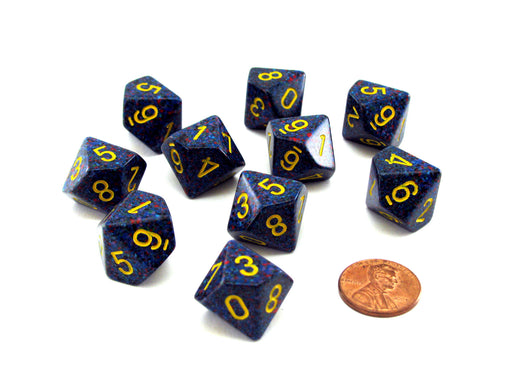 Set of 10 Chessex D10 Dice - Speckled Twilight