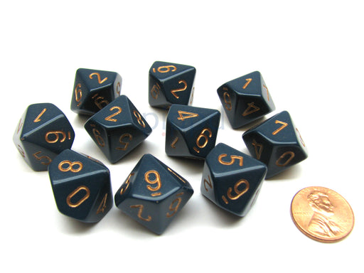 Pack Of 10 Chessex Opaque 10 Sided D10 Dice - Dusty Blue with Copper Numbers