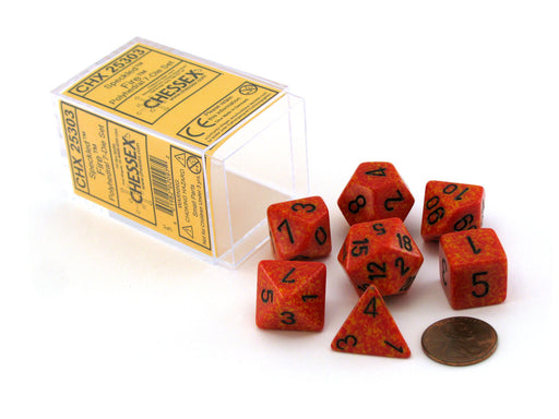 Polyhedral 7-Die Chessex Dice Set - Speckled Fire