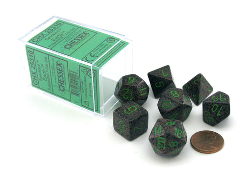 Polyhedral 7-Die Chessex Dice Set - Speckled Earth