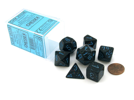 Polyhedral 7-Die Chessex Dice Set - Speckled Blue Stars