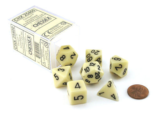 Polyhedral 7-Die Opaque Chessex Dice Set - Ivory with Black Numbers