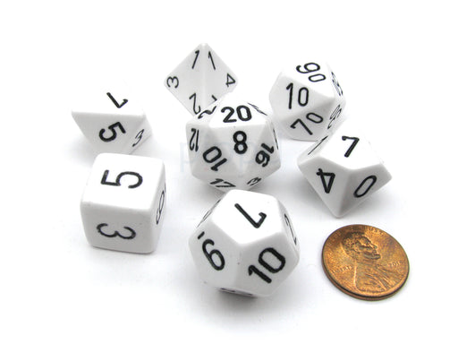 Polyhedral 7-Die Opaque Chessex Dice Set - White with Black Numbers