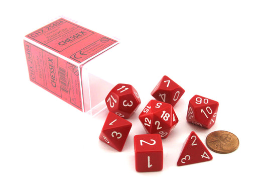 Polyhedral 7-Die Opaque Chessex Dice Set - Red with White Numbers