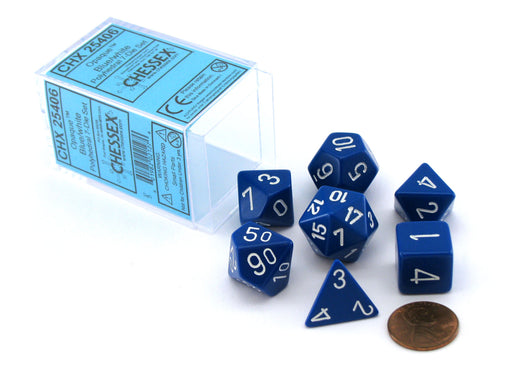 Polyhedral 7-Die Opaque Chessex Dice Set - Blue with White Numbers
