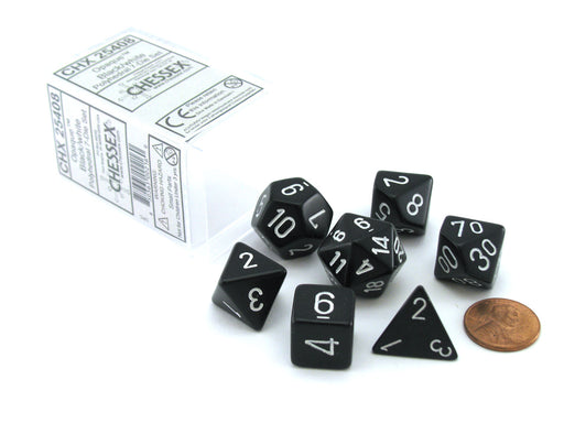 Polyhedral 7-Die Opaque Chessex Dice Set - Black with White Numbers