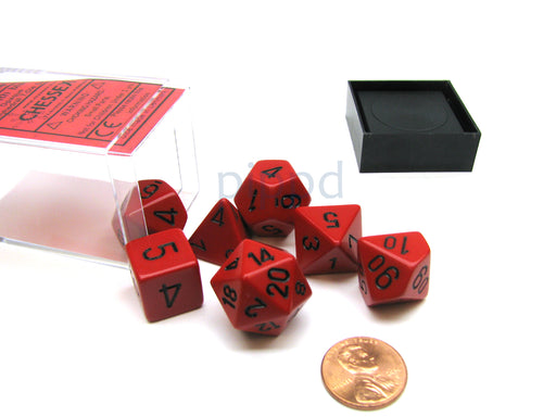Polyhedral 7-Die Opaque Chessex Dice Set - Red with Black Numbers