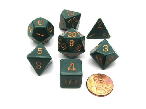 Polyhedral 7-Die Opaque Chessex Dice Set - Dusty Green with Copper Numbers