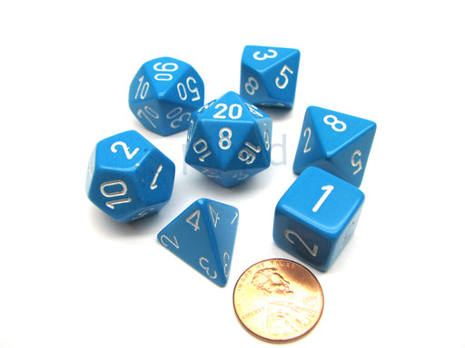Polyhedral 7-Die Opaque Chessex Dice Set - Light Blue with White Numbers