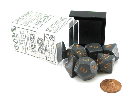 Polyhedral 7-Die Opaque Chessex Dice Set - Dark Gray with Copper Numbers