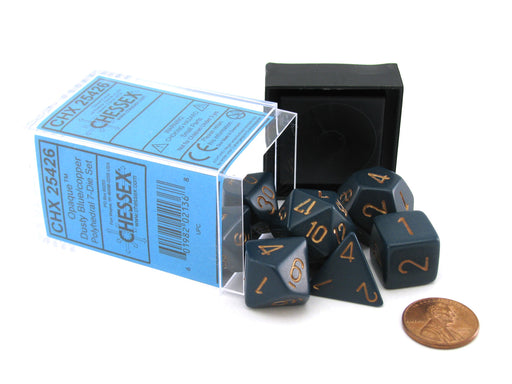 Polyhedral 7-Die Opaque Chessex Dice Set - Dusty Blue with Copper Numbers