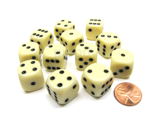 Opaque 16mm D6 Chessex Dice Block (12 Die) - Ivory with Black Pips