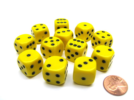 Opaque 16mm D6 Chessex Dice Block (12 Die) - Yellow with Black Pips