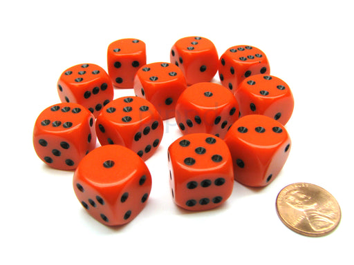 Opaque 16mm D6 Chessex Dice Block (12 Die) - Orange with Black Pips