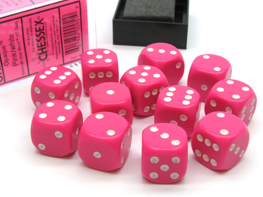 Opaque 16mm D6 Chessex Dice Block (12 Die) - Pink with White Pips