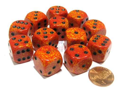 Speckled 16mm D6 Chessex Dice Block (12 Dice) - Fire