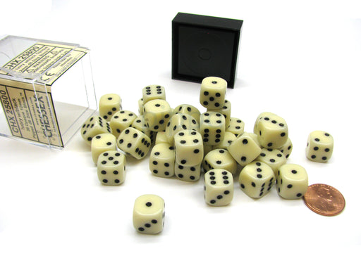 Opaque 12mm D6 Chessex Dice Block (36 Die) - Ivory with Black Pips