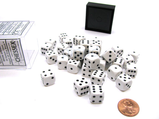 Opaque 12mm D6 Chessex Dice Block (36 Die) - White with Black Pips