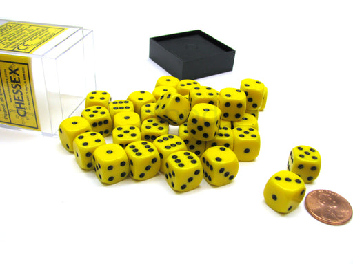 Opaque 12mm D6 Chessex Dice Block (36 Die) - Yellow with Black Pips