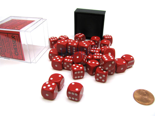 Opaque 12mm D6 Chessex Dice Block (36 Die) - Red with White Pips
